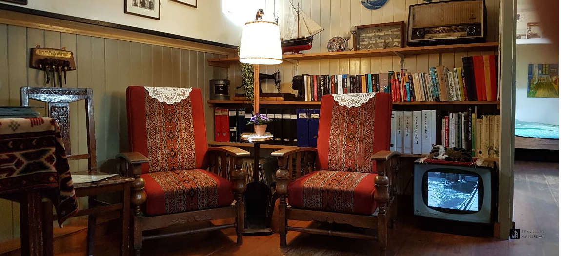 The Living Room Of The Houseboat Museum With Original Furniture