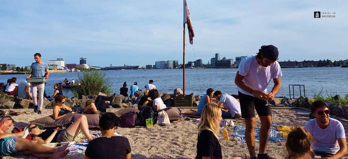 The beach in front of Pllek Amsterdam
