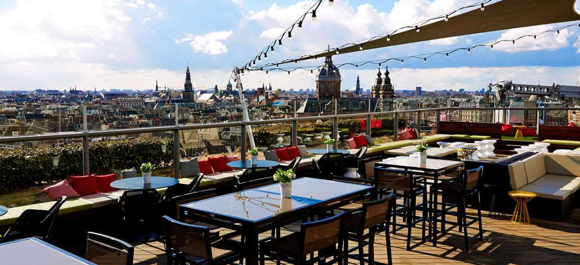 The rooftop terrace form the DoubleTree by Hilton Amsterdam