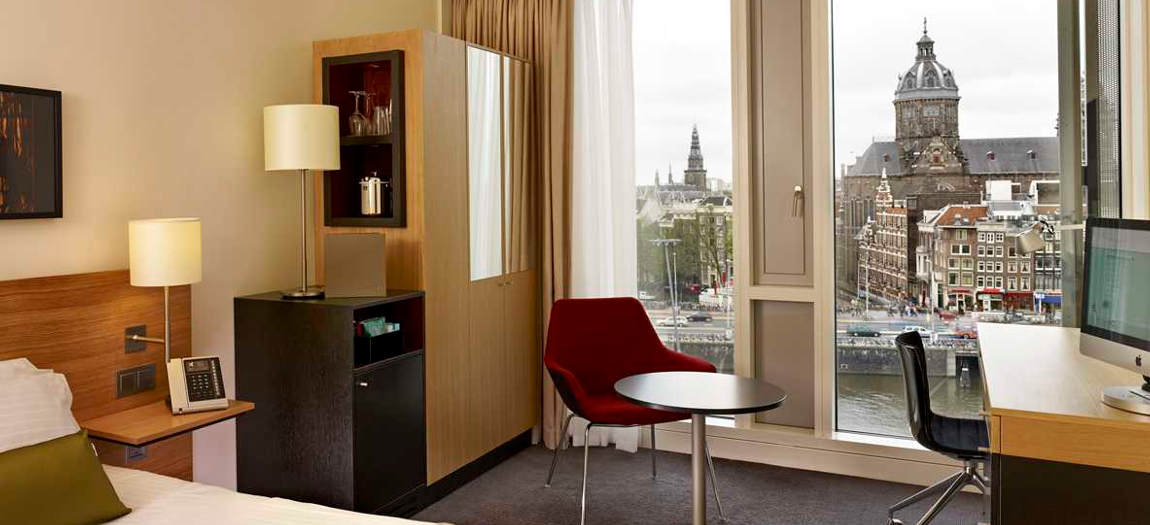 View in the strandard room in the DoubleTree by Hilton Amsterdam