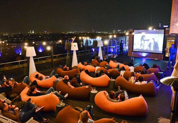 Movie at the rooftop terrace Floor 17 Amsterdam