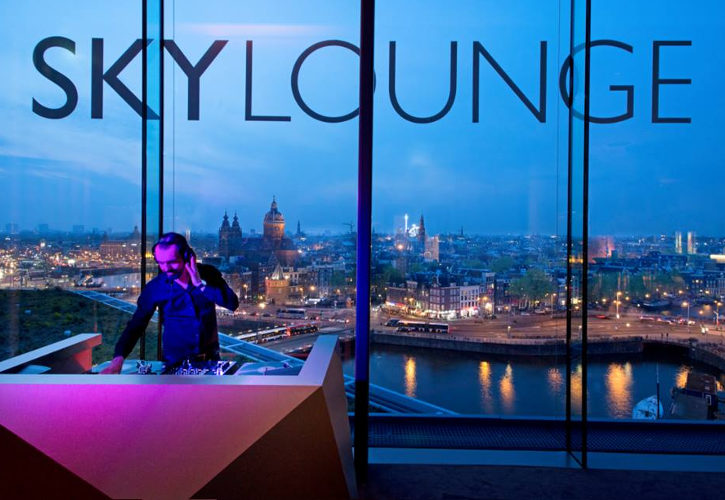 Skylounge Amsterdam at night